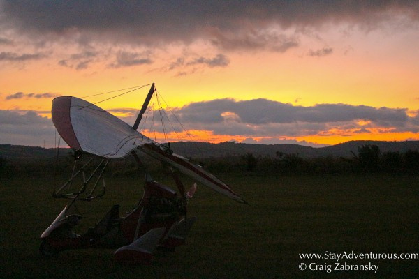 the sunset afterglow with the Ultraligero on the Valle Bonito airfield in Chiapas, Mexico