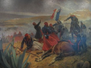 the painting details the french surrender on Cinco de Mayo