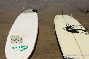 surf boads on the sands of Mazatlan