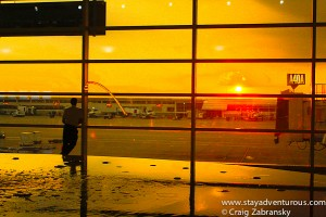 the bright orange sky at DTW