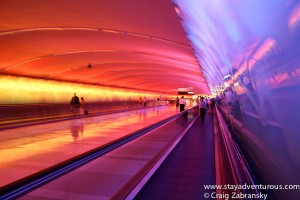 a colorful tunnel passage in DTW