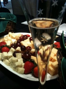 champagne and cheese to set the mood.