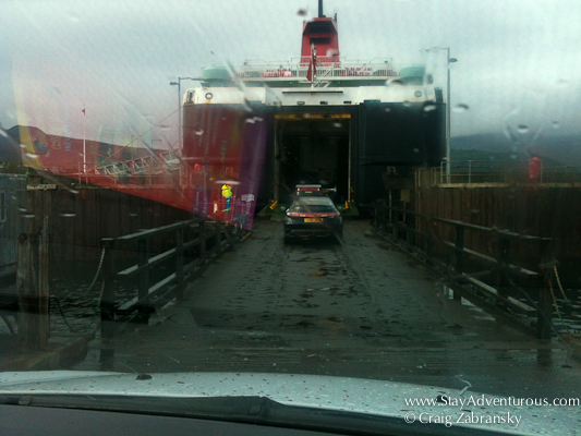 boarding the ferry to the island of arran Scotland
