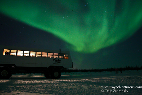 Northern Lights, the Auora Borealis outside of Churchill, Manitoba, Canada with Frontiers North Tundra Buggy