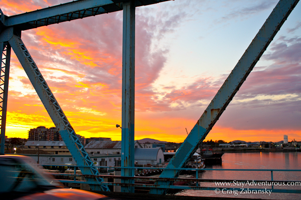 the sunset on a bridge in Victoria,, British Columbia, Canada