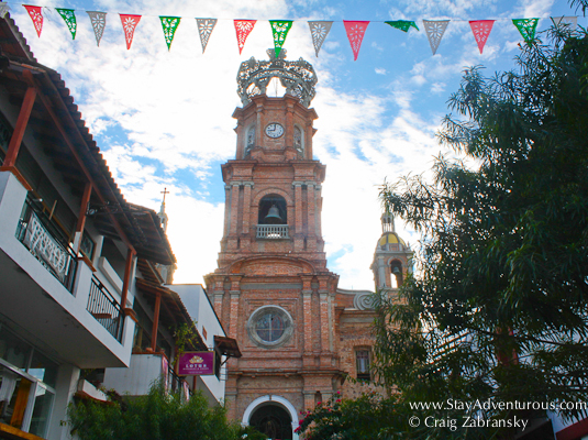 the catherdal or iconic church in puerto vallart, mexico