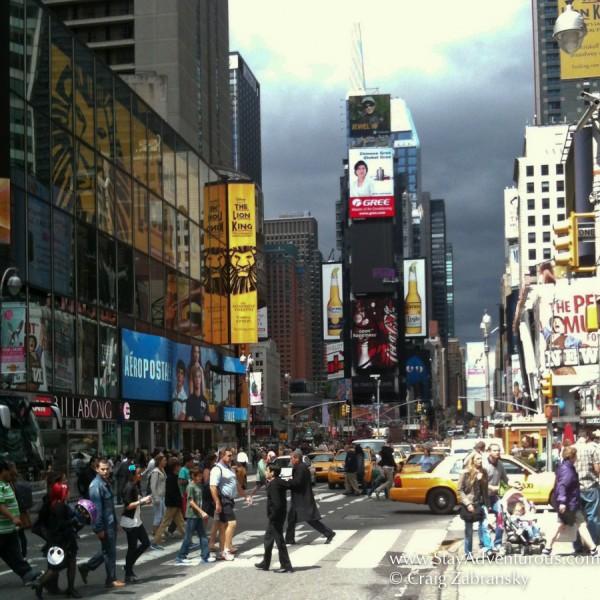 walking through Times Square, NYC