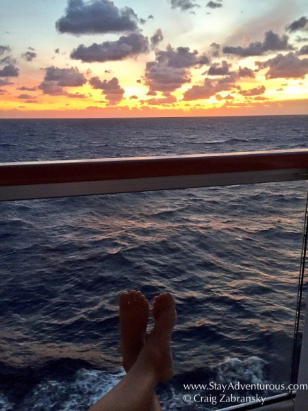 sunrise from my balcony suite on board the Viking Star on the Atlantic Ocean