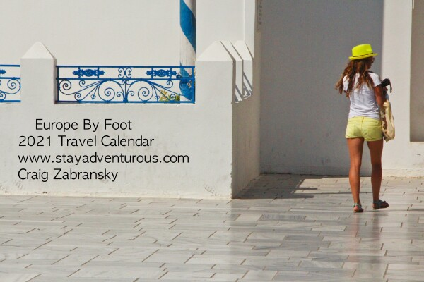 back cover Europe by Foot, 2021 Stay Adventurous Travel Calendar