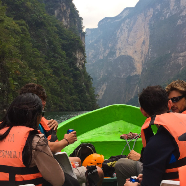 on a boat inside Sumidero Canyon outside Tuxtla Gutierrez, Chiapas Mexico