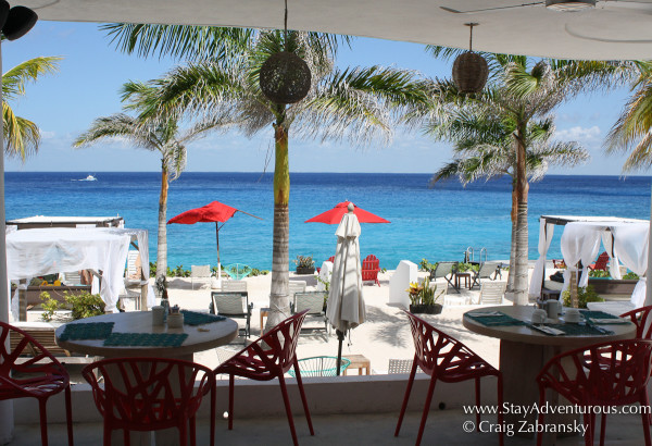 the restaurant view inside Hotel B, Cozumel, Mexico