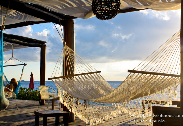 the hammocks at hotel B in Cozumel, Mexico