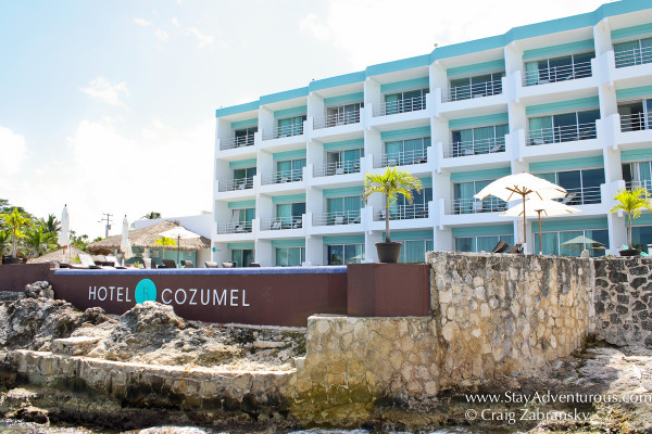 the view of the hotel B from the water or the dock in Cozumel