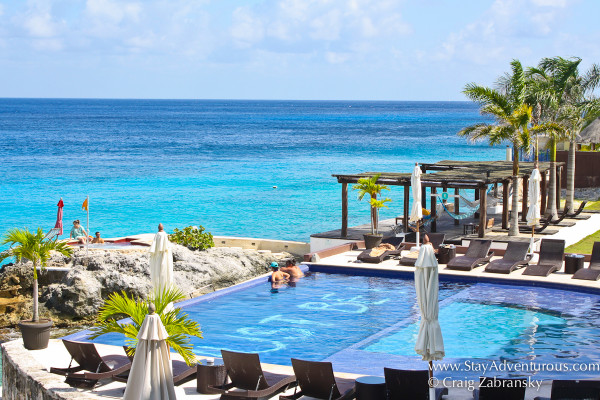the view of the pool and hot tub at hotel b, Cozumel, Mexico