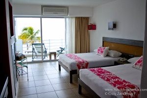 a basic ocean view room in hotel B in cozumel, mexico