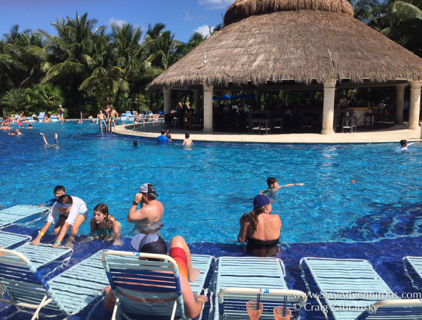 the pool, the largest heated pool on Cozumel, found at Paradise Beach Club