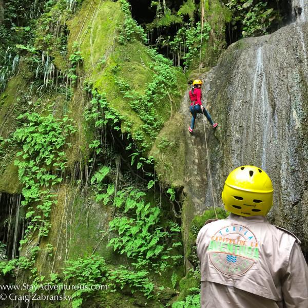 EcoExperiencas guides the rappel inside Tzimbac Adventure Park, Tuxtla Gutierrez, Chiapas, Mexico