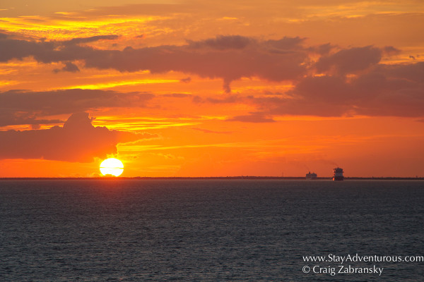Sunset at sea in the Mexican Caribbean by Costa Maya on a Cruise Ship
