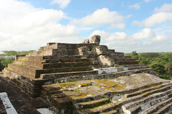 The Gran Acropolis inside Comalcalco Mayan Site in Tabasco, Mexico