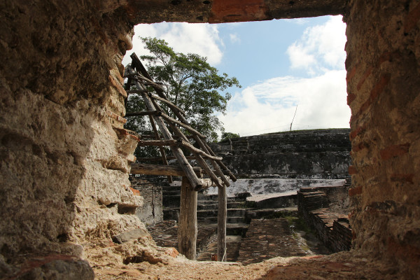 looking through the ruins at Comalcalco a Mayan site in Tabasco, Mexico
