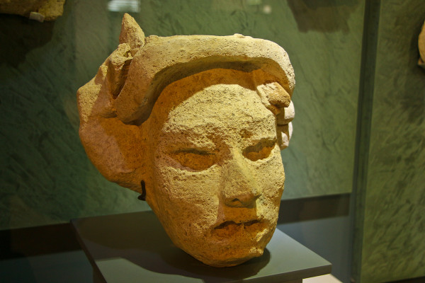 inside the museum at the mayan site of Comalcalco, Tabasco, Mexico