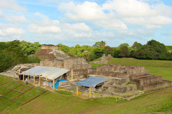 Restoration at the North Plaza at Comalcalco Mayan Site in Tabasco, Mexico