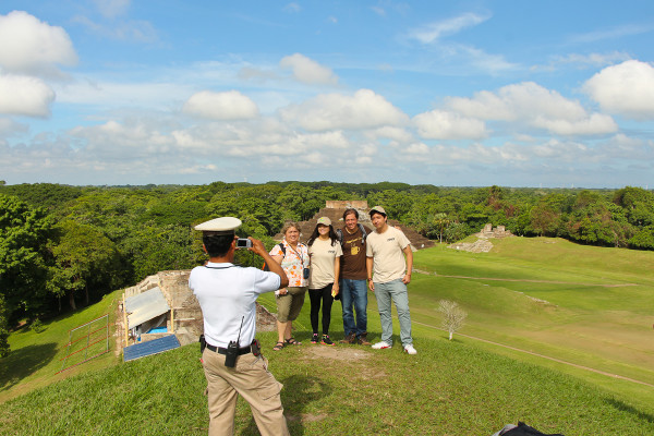 taking a photo at comalcalco mayan site in tabasco mexico