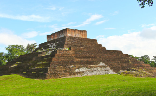 the back of Temple I in the North Plaza at Comalcalco Mayan Site in Tabasco, Mexico
