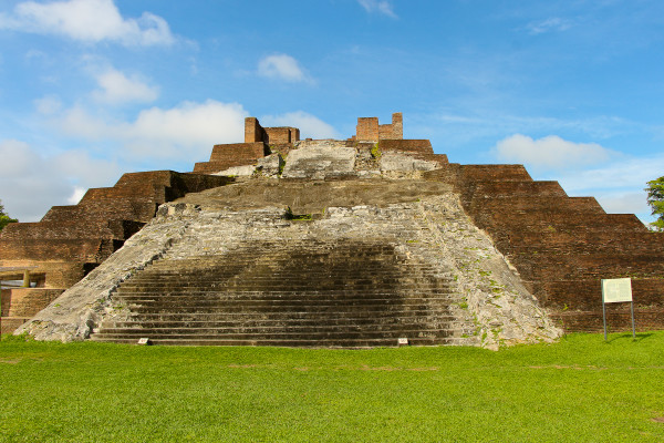 Temple I in the North Plaza at Comalcalco Mayan Site in Tabasco, Mexico