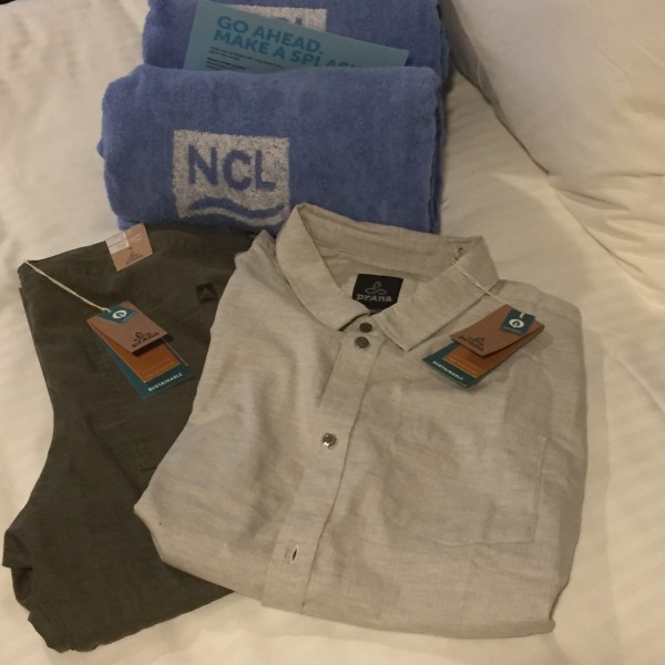 unpacking on the Norwegian Bliss my new prAna attire
