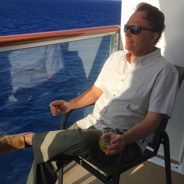 on the balcony of the Norwegian Bliss I style in PrAna Yoga wear