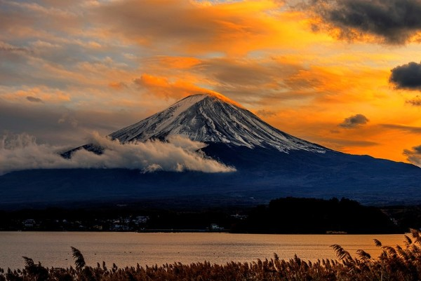 Mt Fuji in Japan at sunset from Kawaguchiko, the second largest Mt Fuji Lake