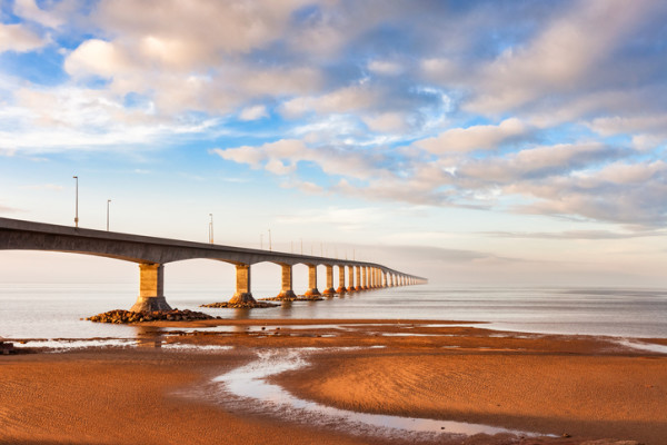 Confederation Bridge to PEI in Maritimes of Canada