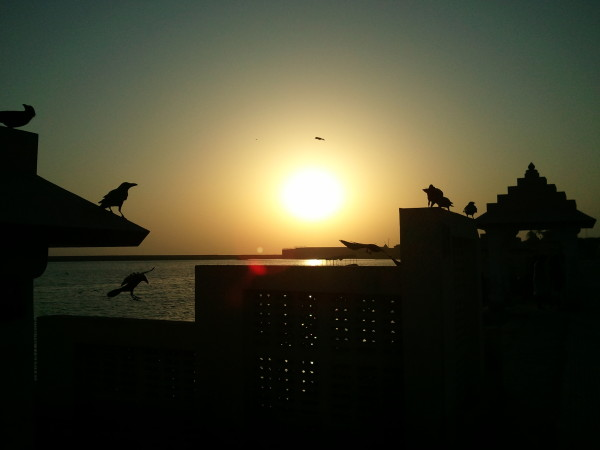 Sunset ay Triveni Ghat in Rishikesh, India