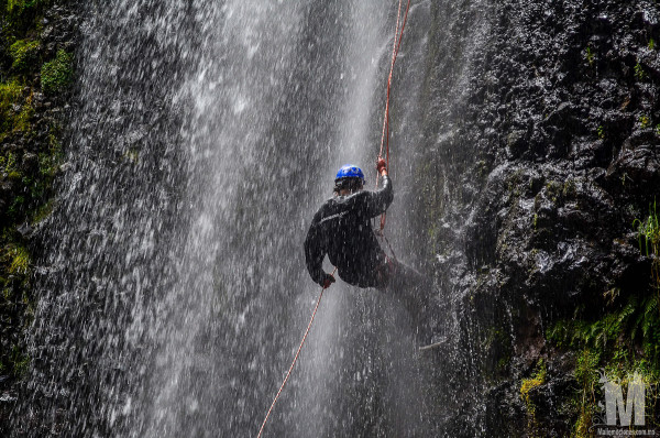 Cascada del Obraje, enjoying the rappel descent on the waterfall outside of Malinalco, Mexico