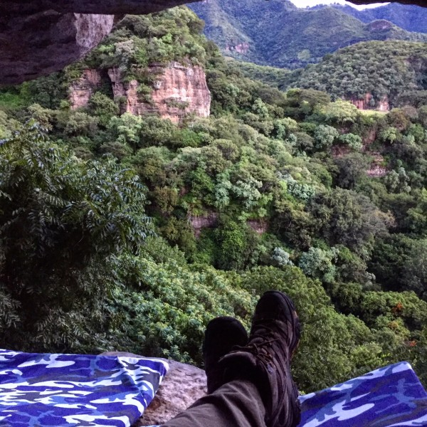 the morning view from la grieta overnight cave cmaping with maliemociones in malinalco, mexico