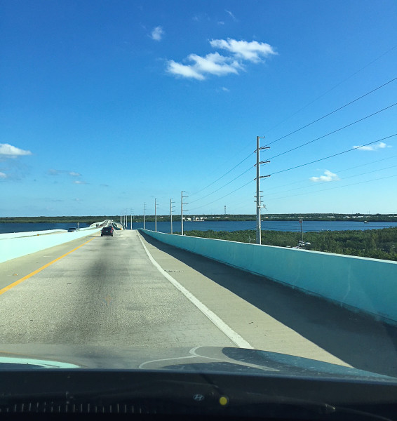Driving Jew Fish Creek Bridge into Key Largo, FloridaKeys