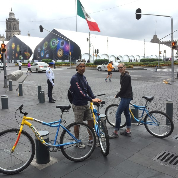 free bikes on the reform to the Zocalo en the heart of Mexico city