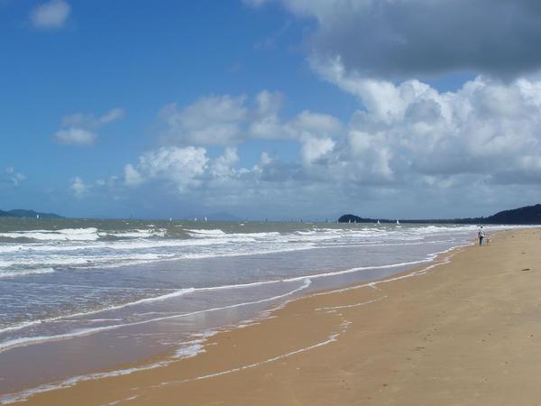 long sandy beach at south mission beach, queensland, australia