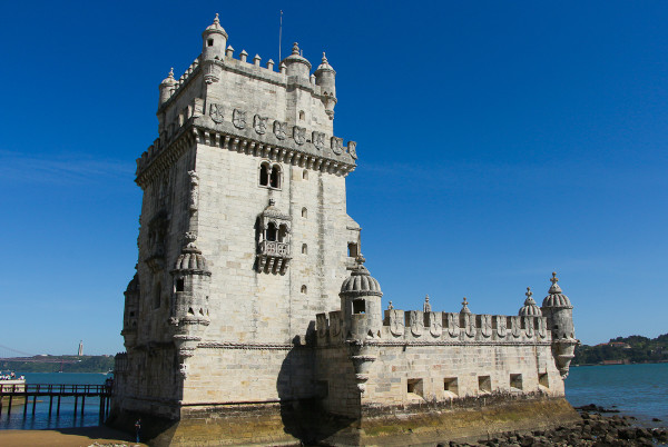 the Belem Tower in the western district of Belem, Lisbon, Portugal