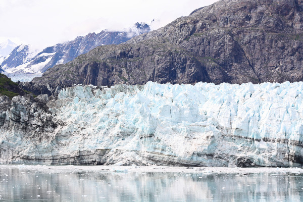 view from the HAL Cruise balcony inside glacier bay national park, alaska