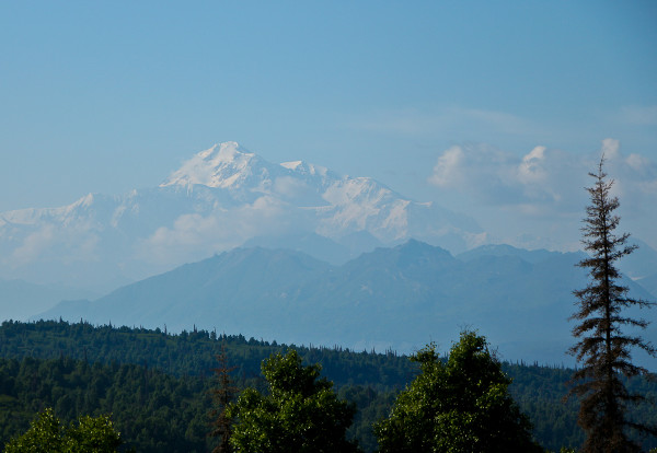 mt Denali from the Great Room outside deck at the McKinley Princess Lodge outside Talkeetna, Alaska