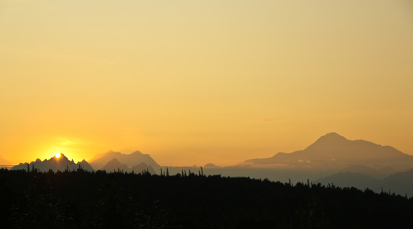 the Alaskan Mountain Range from the Great Room at the Princess Lodge in Talkeetna with View of Mount Denali