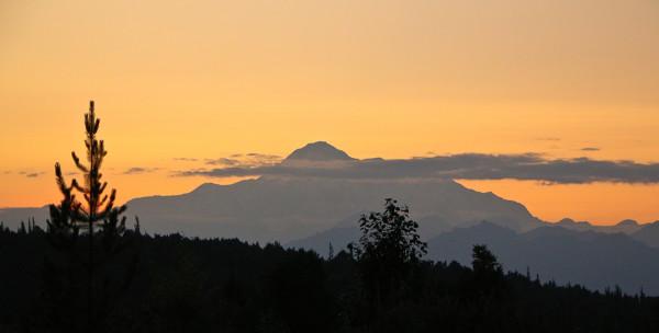 sunset view of mt Denali in alaska at the McKinley Princess Lodge