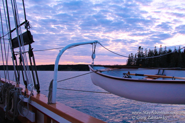 Sunset on the Victory Chimes, a US Naitonal Historic Sailboat in Maine