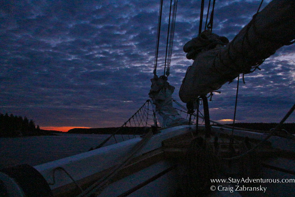 sunset in the cove by North Haven in Maine onboard the Schooner Victory Chimes