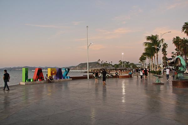 walking the la paz maleconat sunset one evening