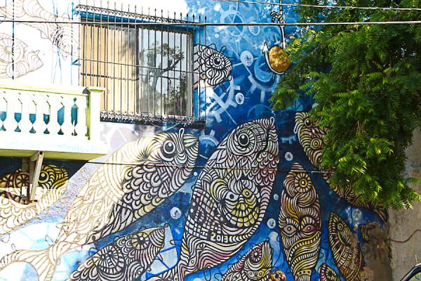 Mural inside La Paz, Mexico