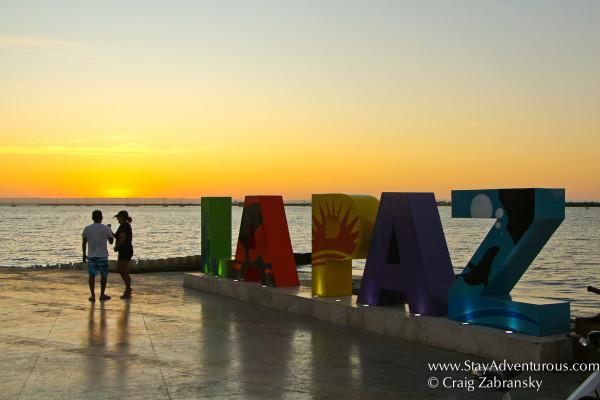 sunset on the malecon in la paz baja california sur, mexico