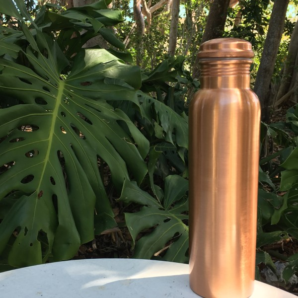 the 900ml brushed copper h2o water bottle